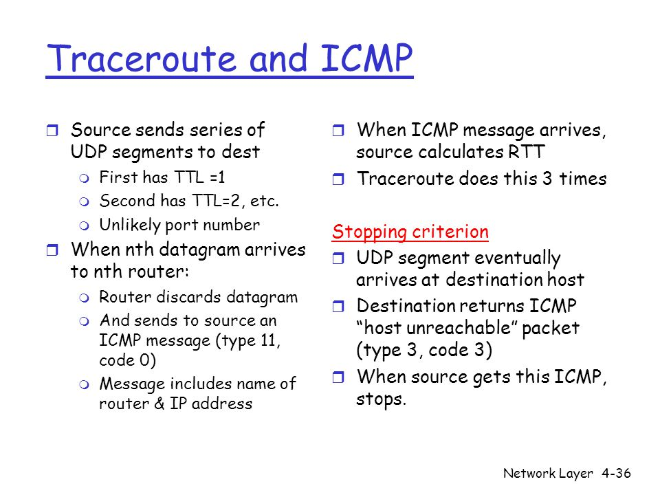 Network Layer4-36 Traceroute and ICMP r Source sends series of UDP segments to dest m First has TTL =1 m Second has TTL=2, etc. m Unlikely port number
