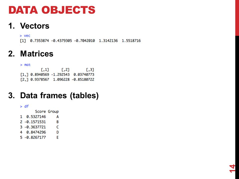 DATA OBJECTS 1.Vectors 2.Matrices 3.Data frames (tables) 14