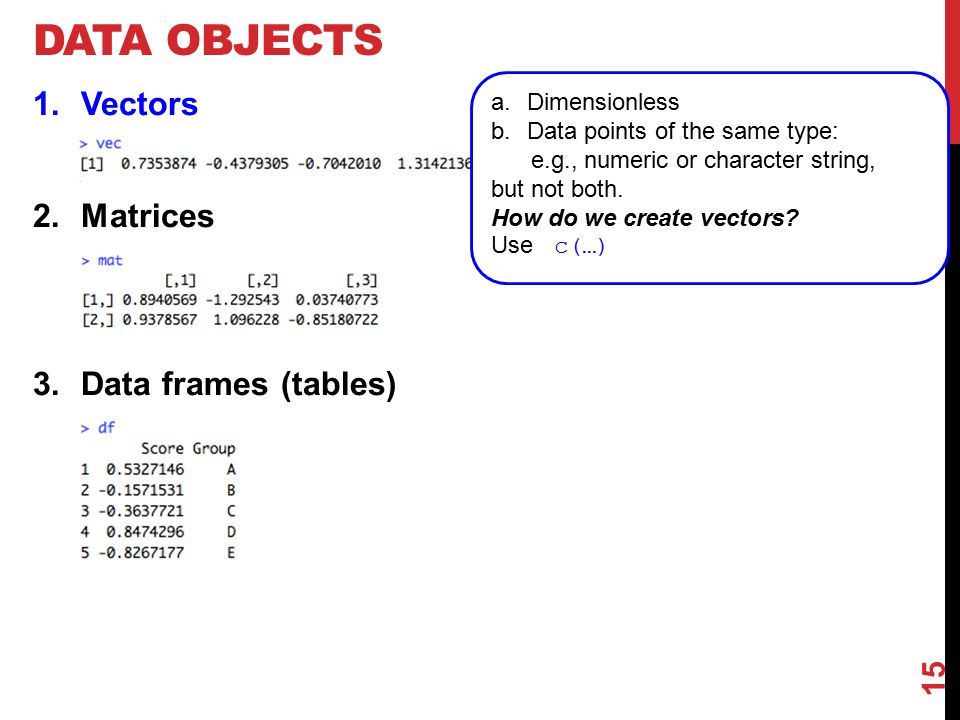 DATA OBJECTS 1.Vectors 2.Matrices 3.Data frames (tables) a.Dimensionless b.Data points of the same type: e.g., numeric or character string, but not both.