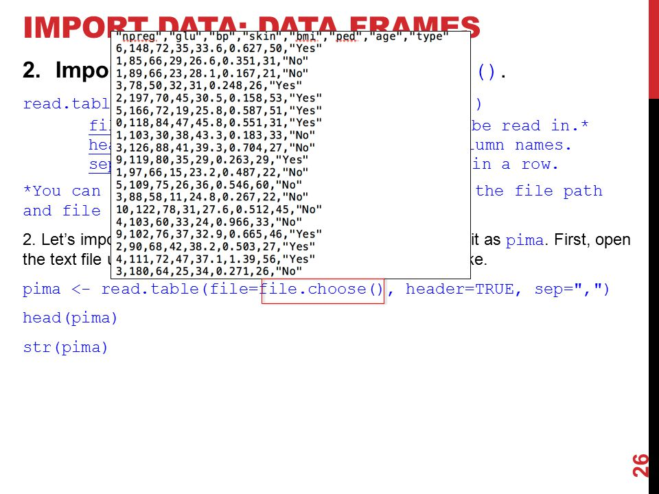 IMPORT DATA: DATA FRAMES 2.Import data frames using read.table().