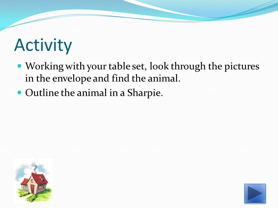 Activity Working with your table set, look through the pictures in the envelope and find the animal.
