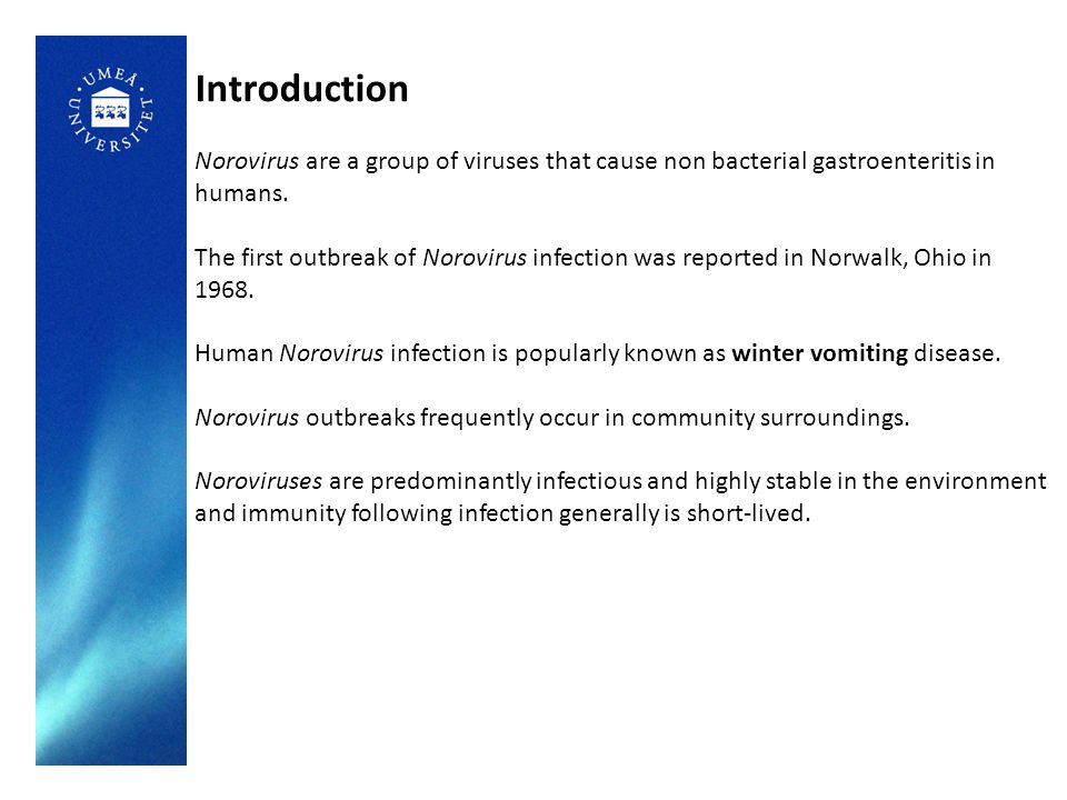 Introduction Norovirus are a group of viruses that cause non bacterial gastroenteritis in humans.