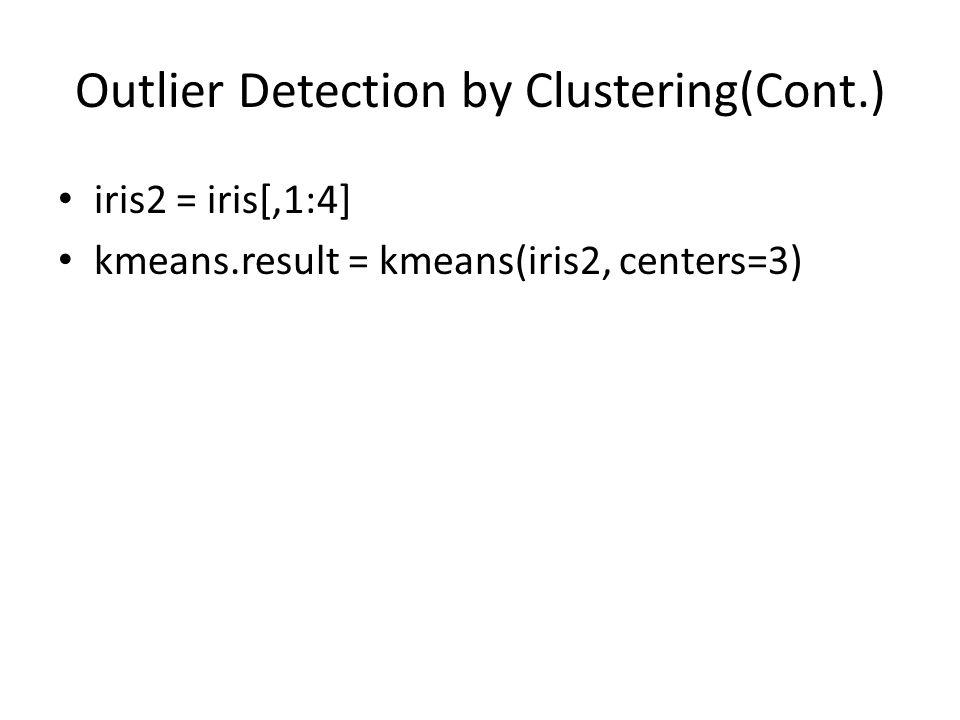 Outlier Detection by Clustering(Cont.) iris2 = iris[,1:4] kmeans.result = kmeans(iris2, centers=3)