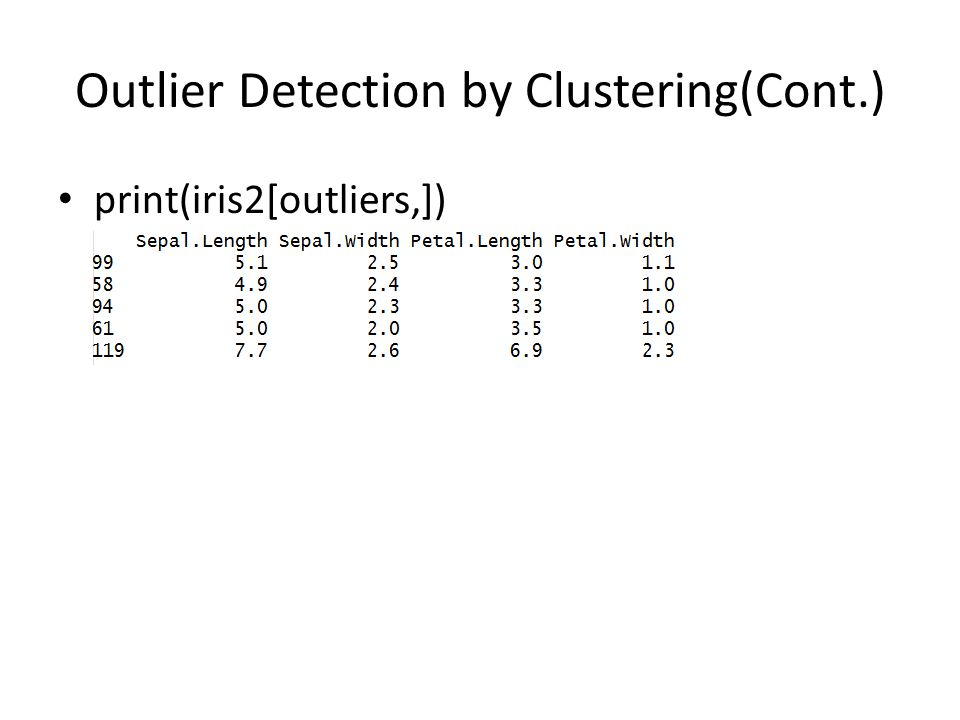 Outlier Detection by Clustering(Cont.) print(iris2[outliers,])