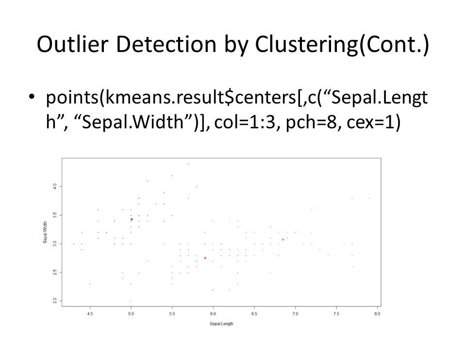 "Outlier Detection by Clustering(Cont.) points(kmeans.result$centers[,c(""Sepal.Lengt h"", ""Sepal.Width"")], col=1:3, pch=8, cex=1)"