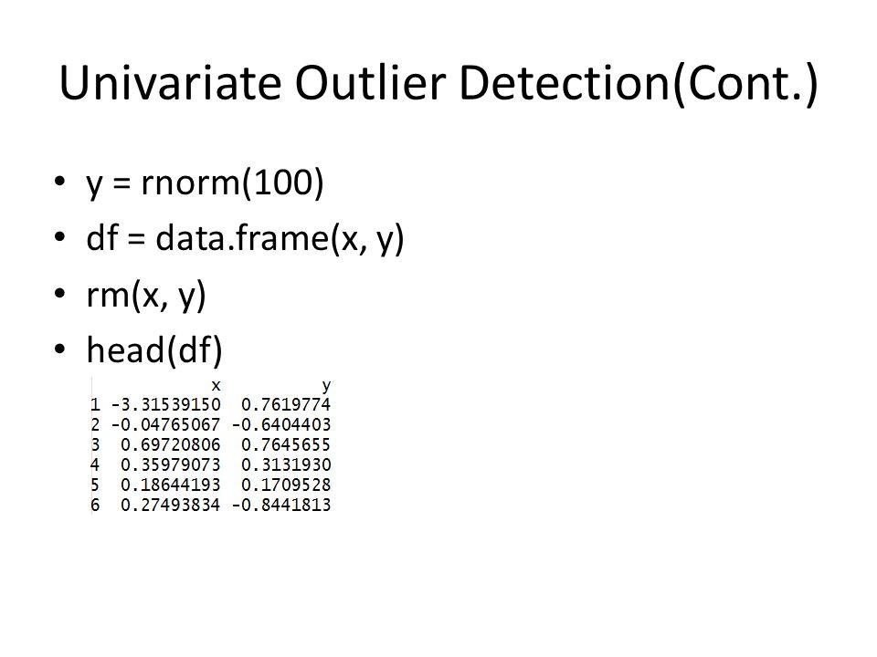 Univariate Outlier Detection(Cont.) y = rnorm(100) df = data.frame(x, y) rm(x, y) head(df)