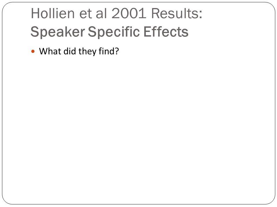 Hollien et al 2001 Results: Magnitudes