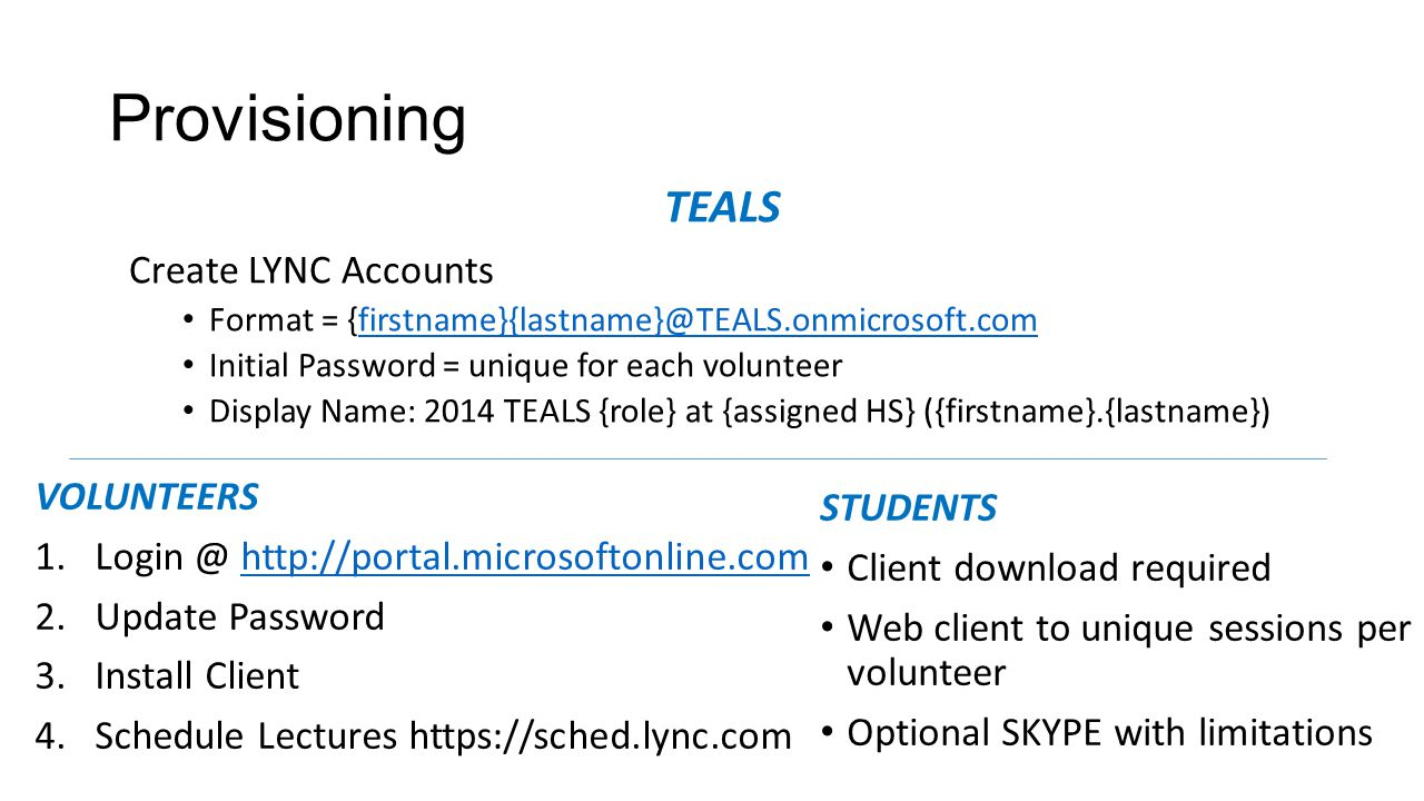 Provisioning TEALS Create LYNC Accounts Format = {firstname}{lastname}@TEALS.onmicrosoft.comfirstname}{lastname}@TEALS.onmicrosoft.com Initial Password = unique for each volunteer Display Name: 2014 TEALS {role} at {assigned HS} ({firstname}.{lastname}) VOLUNTEERS 1.Login @ http://portal.microsoftonline.comhttp://portal.microsoftonline.com 2.Update Password 3.Install Client 4.Schedule Lectures https://sched.lync.com STUDENTS Client download required Web client to unique sessions per volunteer Optional SKYPE with limitations