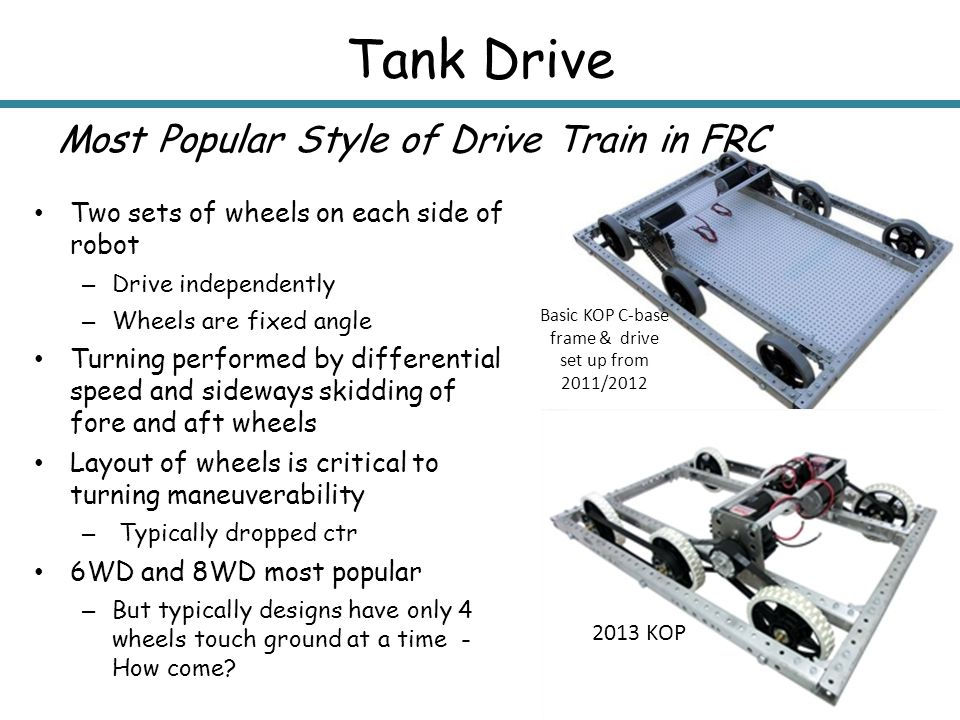 Tank Drive Most Popular Style of Drive Train in FRC Two sets of wheels on each side of robot – Drive independently – Wheels are fixed angle Turning pe