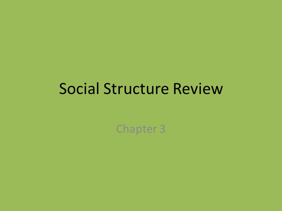 Social Structure Review Chapter 3