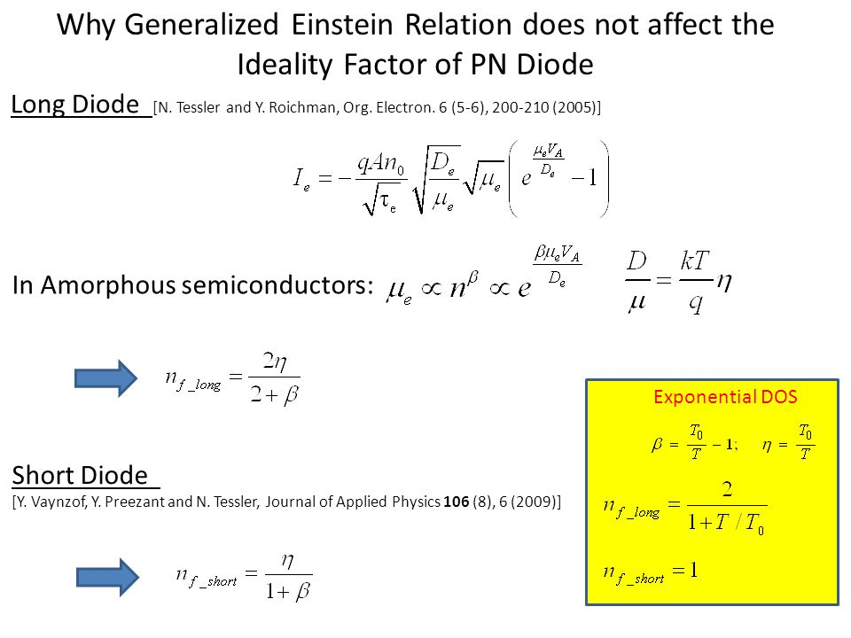Why Generalized Einstein Relation does not affect the Ideality Factor of PN Diode In Amorphous semiconductors: Long Diode [N. Tessler and Y. Roichman,