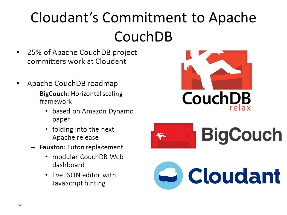 Cloudant's Commitment to Apache CouchDB 34 25% of Apache CouchDB project committers work at Cloudant Apache CouchDB roadmap – BigCouch: Horizontal scaling framework based on Amazon Dynamo paper folding into the next Apache release – Fauxton: Futon replacement modular CouchDB Web dashboard live JSON editor with JavaScript hinting