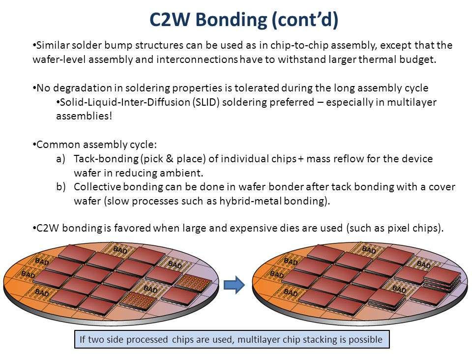 C2W Bonding (cont'd) Similar solder bump structures can be used as in chip-to-chip assembly, except that the wafer-level assembly and interconnections have to withstand larger thermal budget.