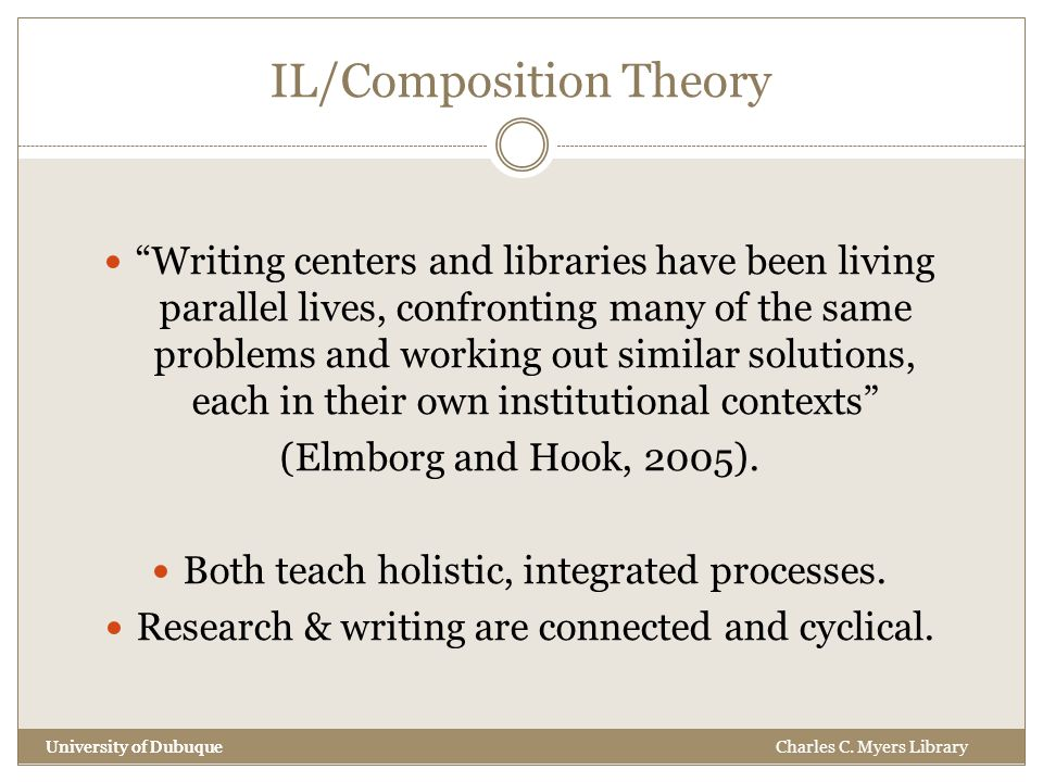 IL/Composition Theory University of Dubuque Writing centers and libraries have been living parallel lives, confronting many of the same problems and working out similar solutions, each in their own institutional contexts (Elmborg and Hook, 2005).