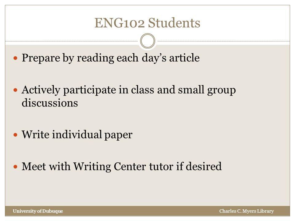 ENG102 Students University of Dubuque Prepare by reading each day's article Actively participate in class and small group discussions Write individual paper Meet with Writing Center tutor if desired University of DubuqueCharles C.