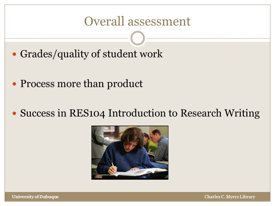 Overall assessment University of Dubuque Grades/quality of student work Process more than product Success in RES104 Introduction to Research Writing University of DubuqueCharles C.