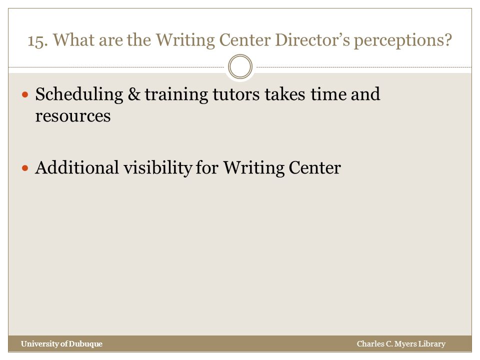 15. What are the Writing Center Director's perceptions.
