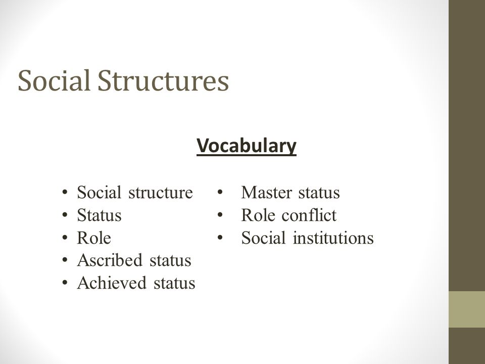 Social Structures Vocabulary Social structure Status Role Ascribed status Achieved status Master status Role conflict Social institutions