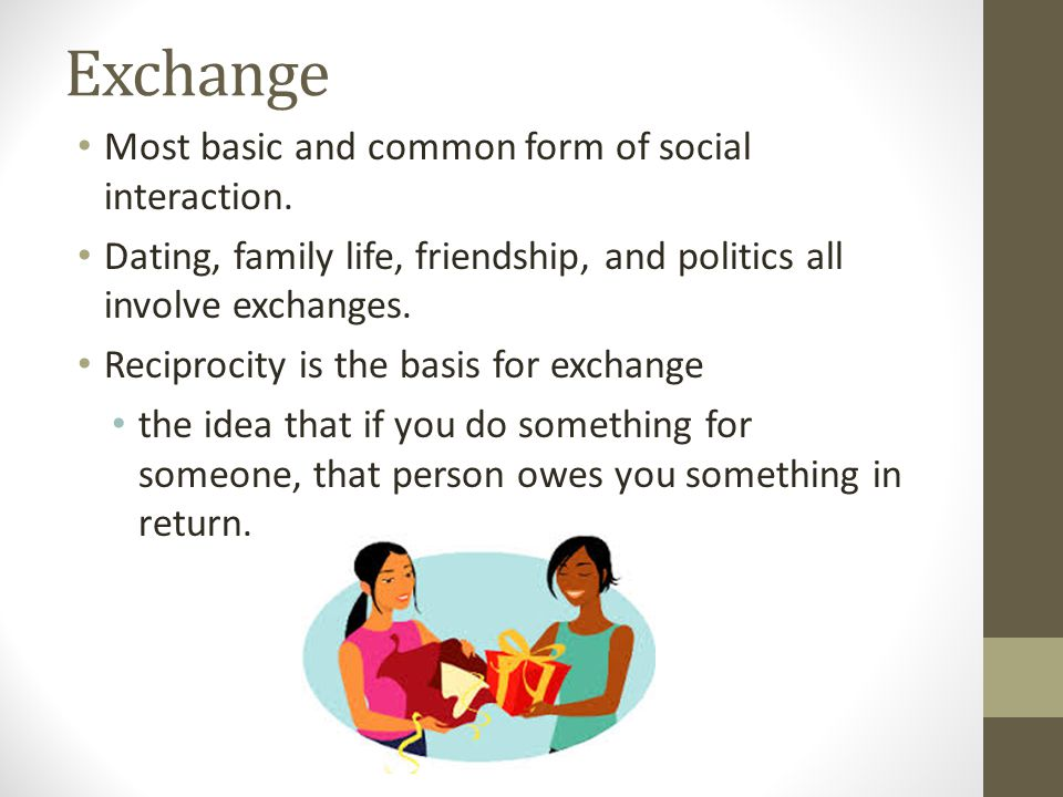 Exchange Most basic and common form of social interaction. Dating, family life, friendship, and politics all involve exchanges. Reciprocity is the bas