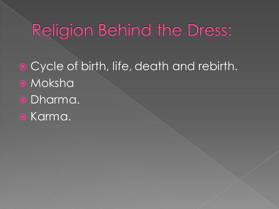  Cycle of birth, life, death and rebirth.  Moksha  Dharma.  Karma.