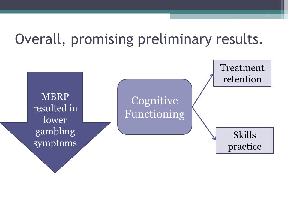 Overall, promising preliminary results. MBRP resulted in lower gambling symptoms Cognitive Functioning Treatment retention Skills practice