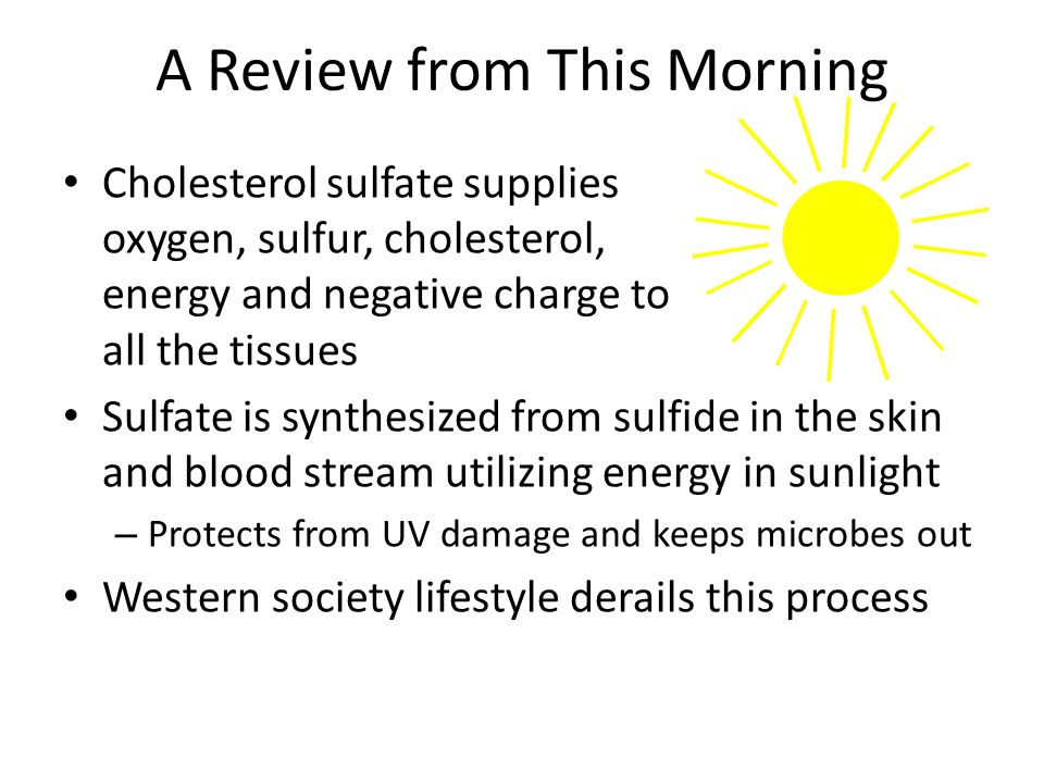 A Proposal Widespread deficiency of cholesterol and sulfate in the blood stream and in the tissues is the source of most chronic diseases The diseases reflect last-ditch efforts to fix the problem