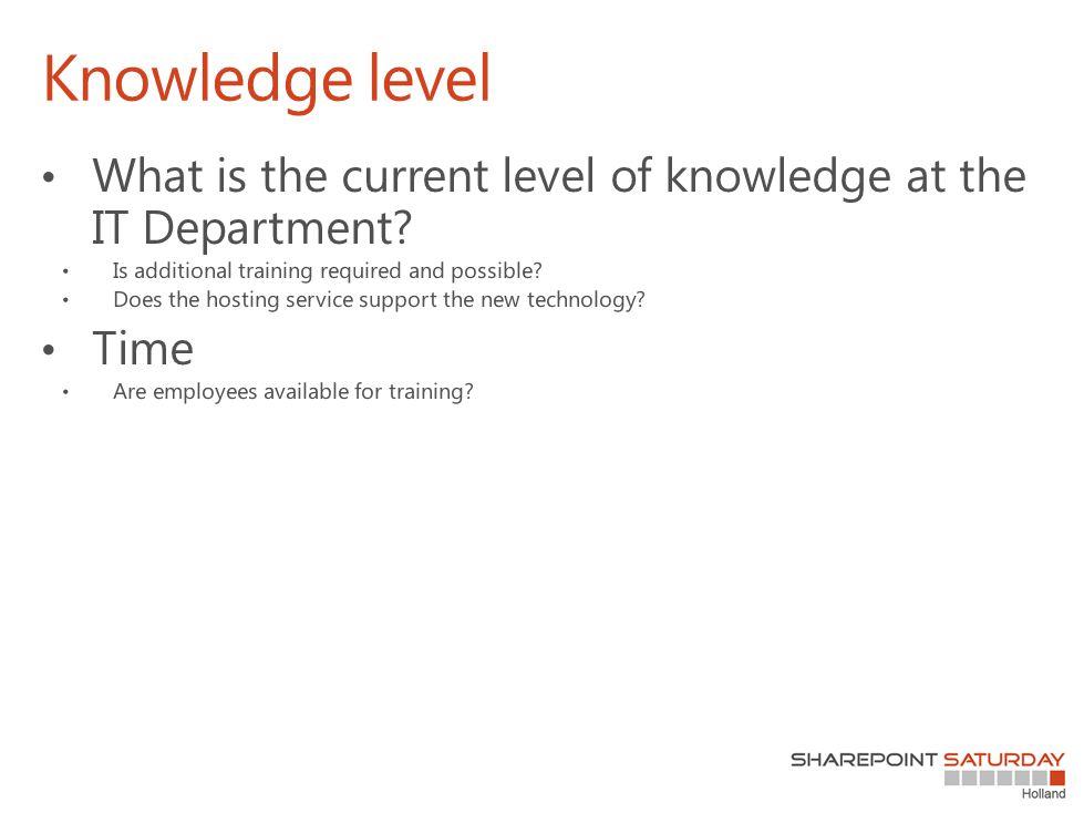 Knowledge level