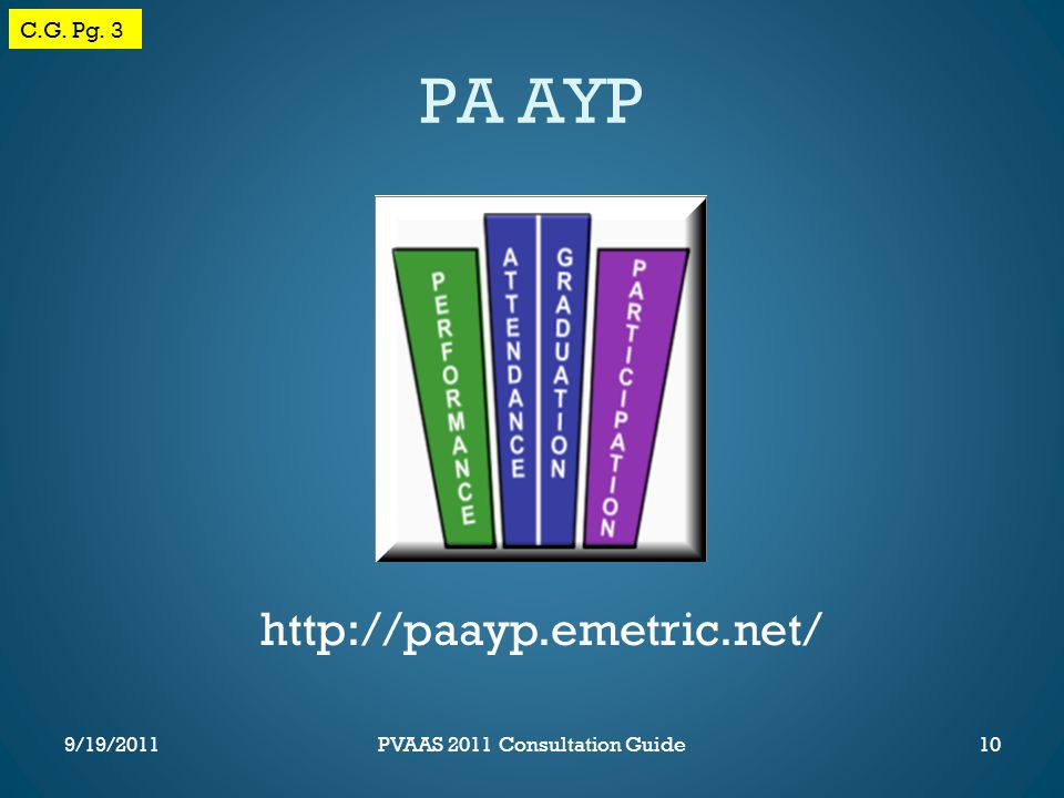 PA AYP http://paayp.emetric.net/ C.G. Pg. 3 10PVAAS 2011 Consultation Guide9/19/2011