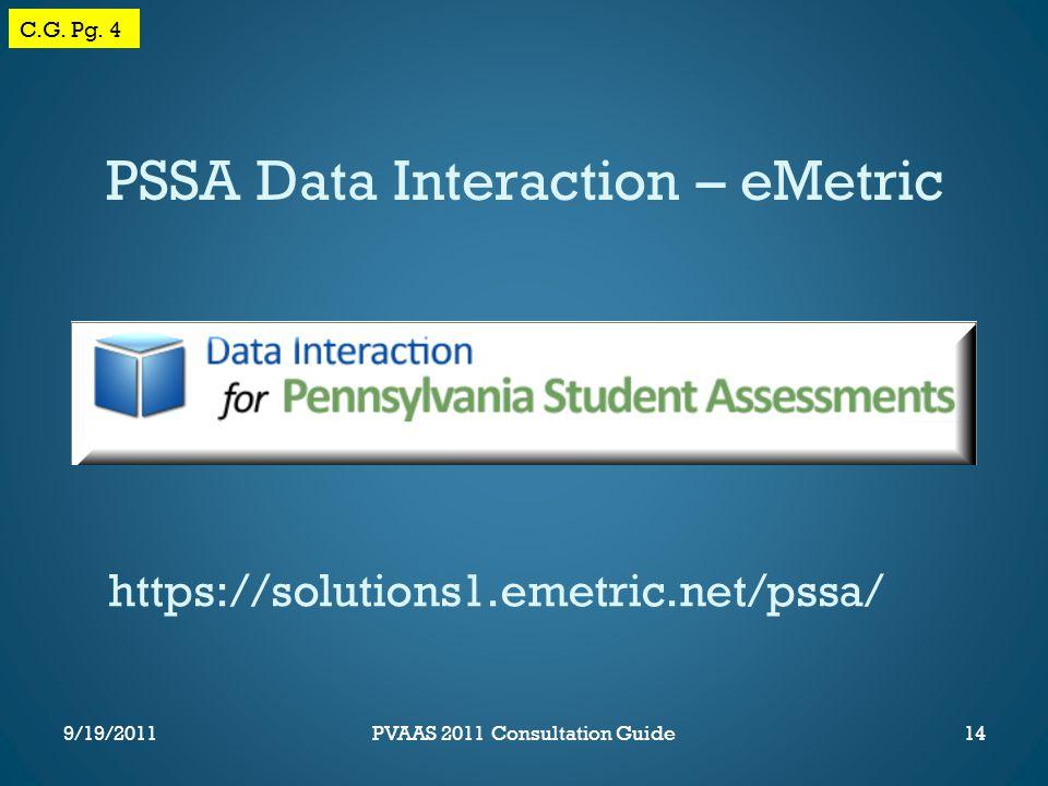 PSSA Data Interaction – eMetric https://solutions1.emetric.net/pssa/ C.G.