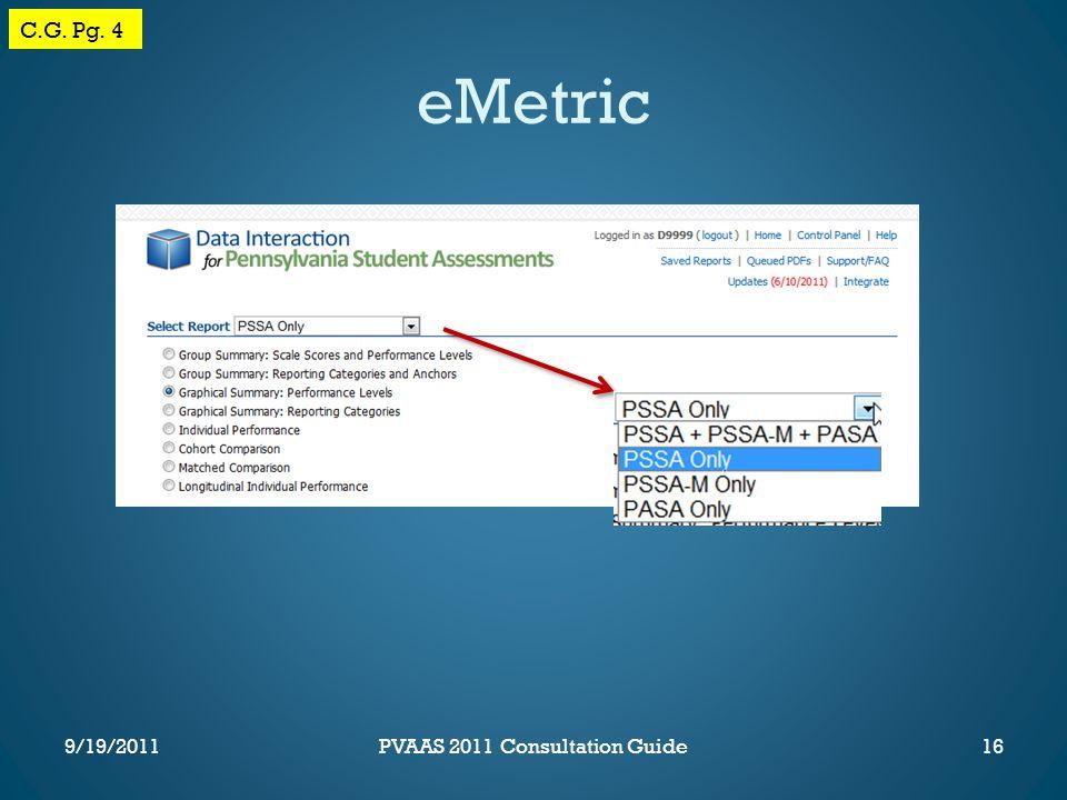 eMetric C.G. Pg. 4 16PVAAS 2011 Consultation Guide9/19/2011