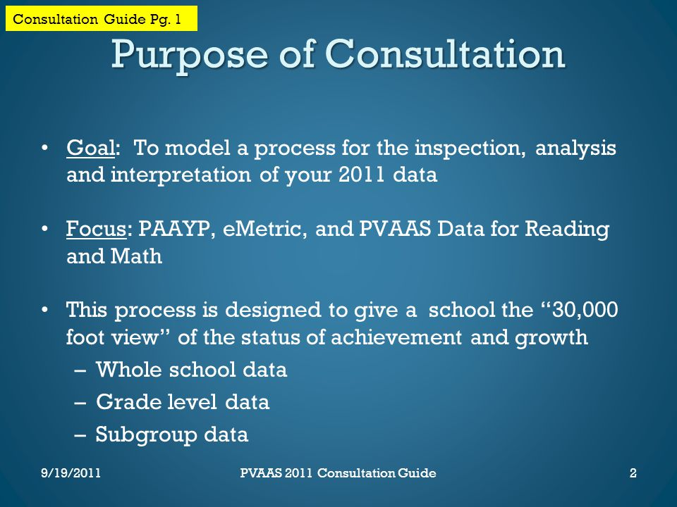 Projections to Proficient or Advanced 43 Grade PSSA Last Taken 3  4 or 5 4  5 or 6 5  6 or 7 6  7 or 8 7  8 8  11 Project to these Grades PVAAS 2011 Consultation Guide9/19/2011
