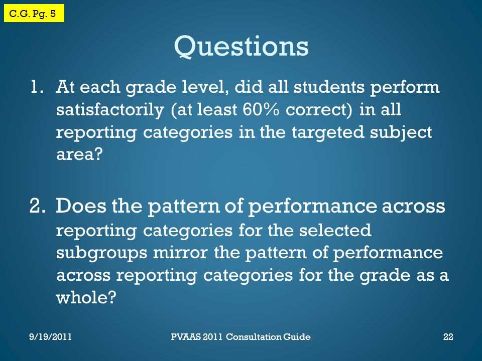 Questions 1.At each grade level, did all students perform satisfactorily (at least 60% correct) in all reporting categories in the targeted subject area.
