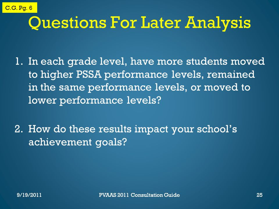 Questions For Later Analysis 1.In each grade level, have more students moved to higher PSSA performance levels, remained in the same performance levels, or moved to lower performance levels.