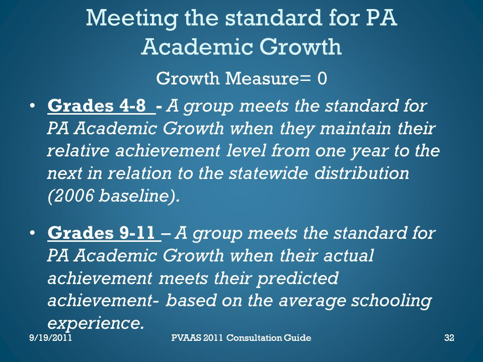 Meeting the standard for PA Academic Growth Growth Measure= 0 Grades 4-8 - A group meets the standard for PA Academic Growth when they maintain their relative achievement level from one year to the next in relation to the statewide distribution (2006 baseline).