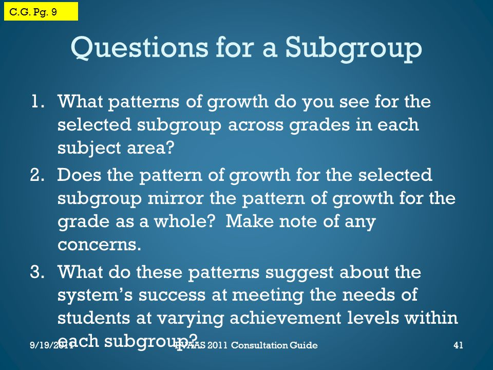 Questions for a Subgroup 1.What patterns of growth do you see for the selected subgroup across grades in each subject area.