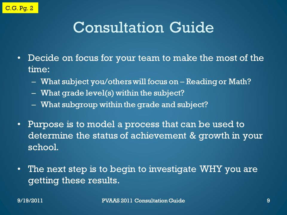 Consultation Guide Decide on focus for your team to make the most of the time: –What subject you/others will focus on – Reading or Math.