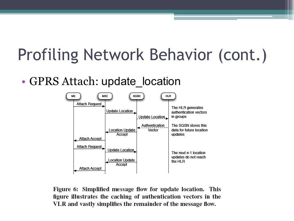 Profiling Network Behavior (cont.) GPRS Attach: update_location
