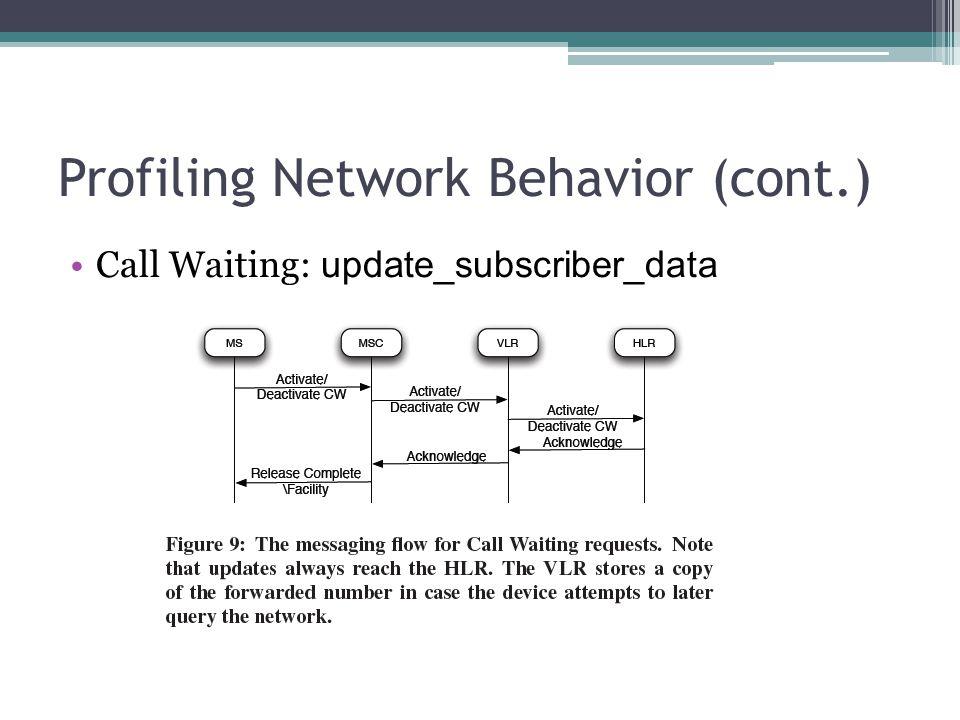 Profiling Network Behavior (cont.) Call Waiting: update_subscriber_data