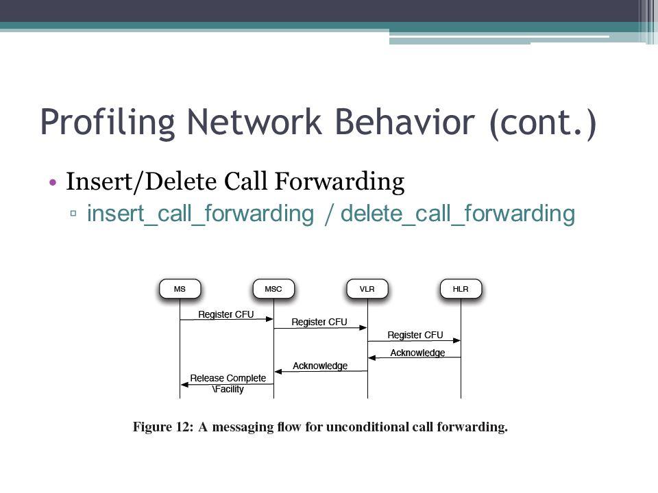 Profiling Network Behavior (cont.) Insert/Delete Call Forwarding ▫ insert_call_forwarding / delete_call_forwarding