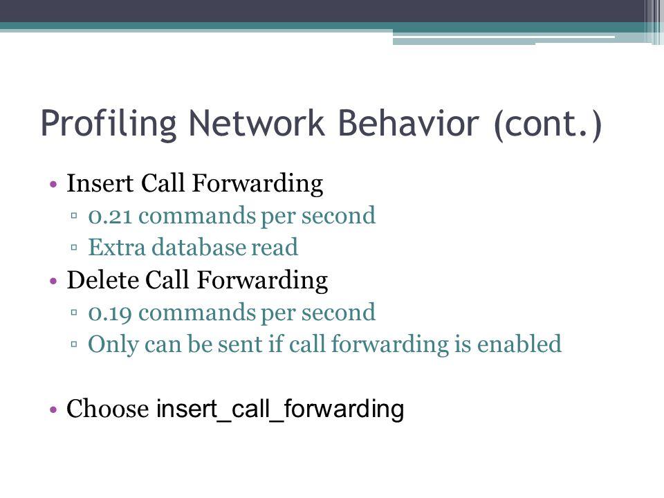 Profiling Network Behavior (cont.) Insert Call Forwarding ▫0.21 commands per second ▫Extra database read Delete Call Forwarding ▫0.19 commands per sec