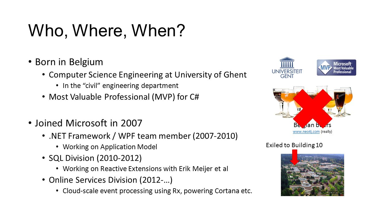 """Who, Where, When? Born in Belgium Computer Science Engineering at University of Ghent In the """"civil"""" engineering department Most Valuable Professional"""