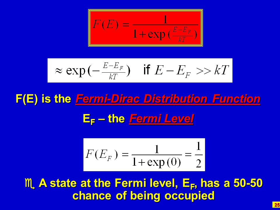 25 F(E) is the Fermi-Dirac Distribution Function E F – the Fermi Level  A state at the Fermi level, E F, has a 50-50 chance of being occupied