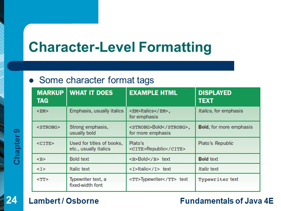 Chapter 9 Lambert / OsborneFundamentals of Java 4E Character-Level Formatting Some character format tags 24