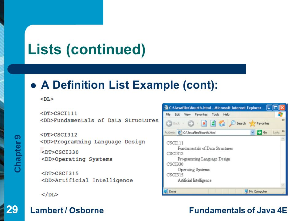 Chapter 9 Lambert / OsborneFundamentals of Java 4E 29 Lists (continued) 29 A Definition List Example (cont):