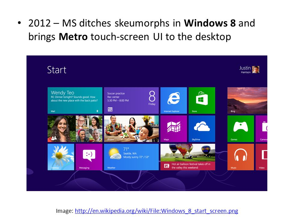 2012 – MS ditches skeumorphs in Windows 8 and brings Metro touch-screen UI to the desktop Image: http://en.wikipedia.org/wiki/File:Windows_8_start_screen.pnghttp://en.wikipedia.org/wiki/File:Windows_8_start_screen.png