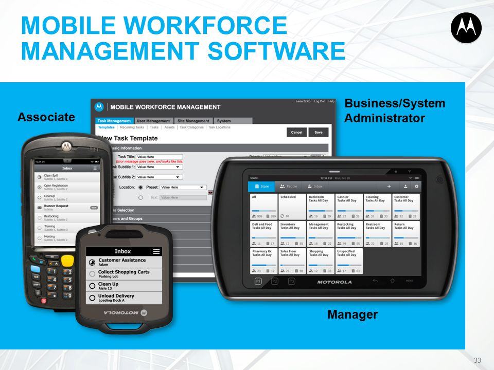 33 Business/System Administrator Manager Associate MOBILE WORKFORCE MANAGEMENT SOFTWARE