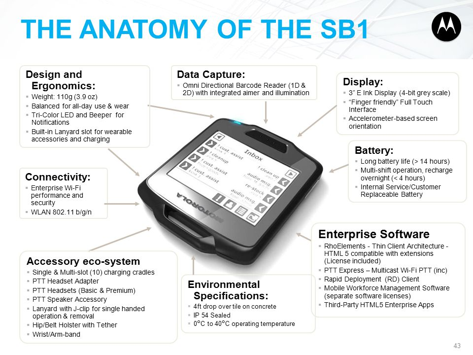 THE ANATOMY OF THE SB1 43 Connectivity:  Enterprise Wi-Fi performance and security  WLAN 802.11 b/g/n Display:  3 E Ink Display (4-bit grey scale)  Finger friendly Full Touch Interface  Accelerometer-based screen orientation Battery:  Long battery life (> 14 hours)  Multi-shift operation, recharge overnight (< 4 hours)  Internal Service/Customer Replaceable Battery Environmental Specifications:  4ft drop over tile on concrete  IP 54 Sealed  0°C to 40°C operating temperature Data Capture:  Omni Directional Barcode Reader (1D & 2D) with integrated aimer and illumination Accessory eco-system  Single & Multi-slot (10) charging cradles  PTT Headset Adapter  PTT Headsets (Basic & Premium)  PTT Speaker Accessory  Lanyard with J-clip for single handed operation & removal  Hip/Belt Holster with Tether  Wrist/Arm-band Design and Ergonomics:  Weight: 110g (3.9 oz)  Balanced for all-day use & wear  Tri-Color LED and Beeper for Notifications  Built-in Lanyard slot for wearable accessories and charging Enterprise Software  RhoElements - Thin Client Architecture - HTML 5 compatible with extensions (License included)  PTT Express – Multicast Wi-Fi PTT (inc)  Rapid Deployment (RD) Client  Mobile Workforce Management Software (separate software licenses)  Third-Party HTML5 Enterprise Apps