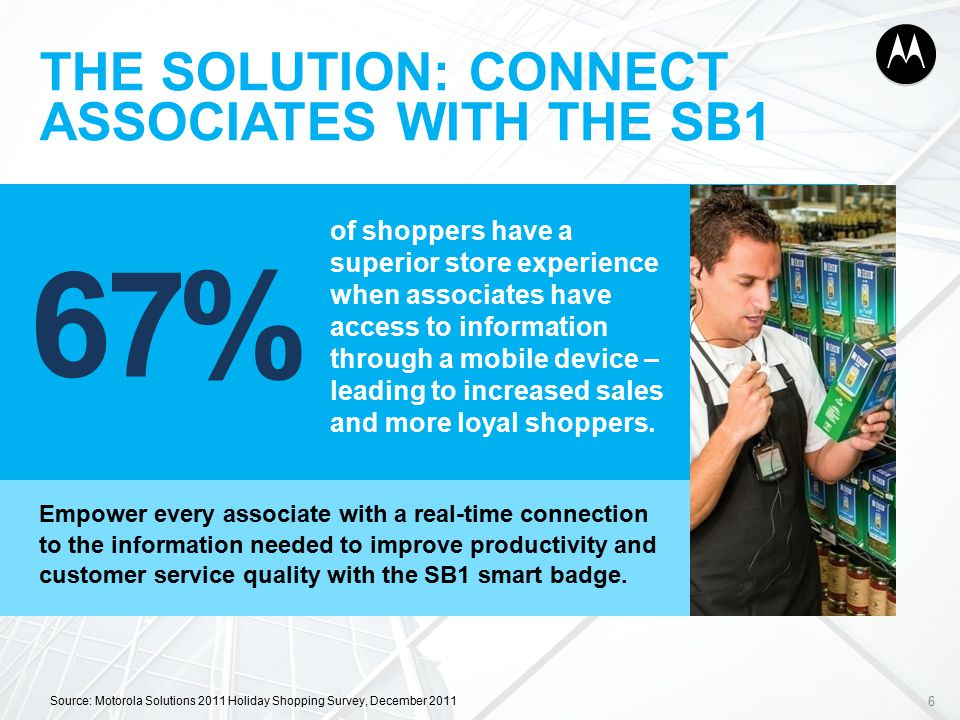 THE SOLUTION: CONNECT ASSOCIATES WITH THE SB1 Empower every associate with a real-time connection to the information needed to improve productivity and customer service quality with the SB1 smart badge.