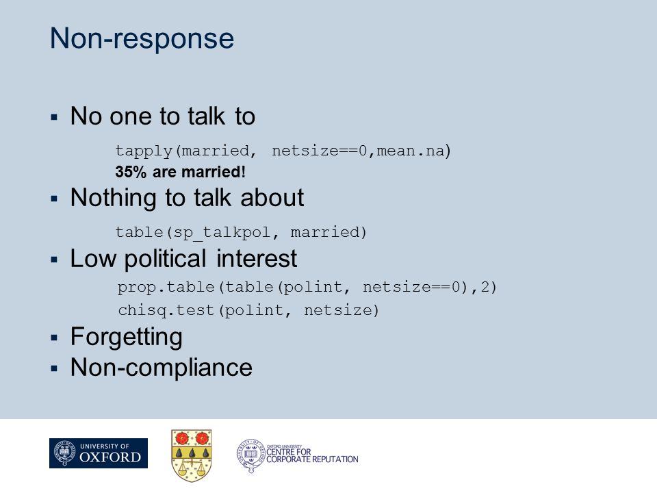 Non-response  No one to talk to tapply(married, netsize==0,mean.na ) 35% are married.