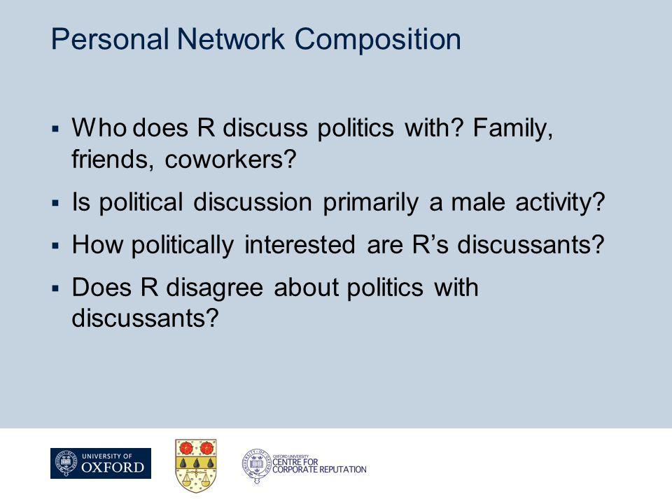 Personal Network Composition  Who does R discuss politics with.